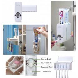 Автоматичен диспенсър за паста за зъби, с дозатор и поставка за четки