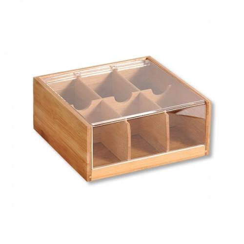Бамбукова кутия за чай с акрилен капак, 6 отделения, KESPER Германия